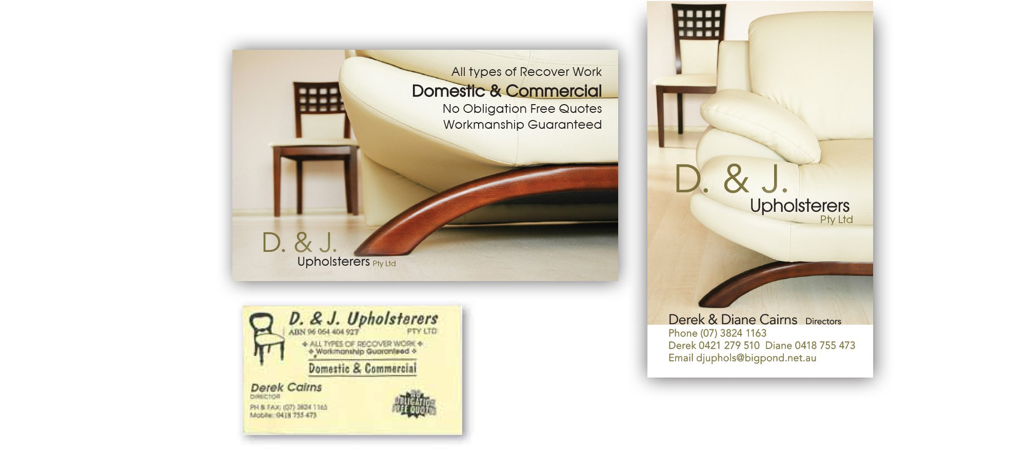 D & J Upholsteres brand - business cards